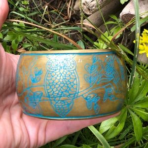 VTG Brass Bangles with Enamel Owl/Forest Sketch